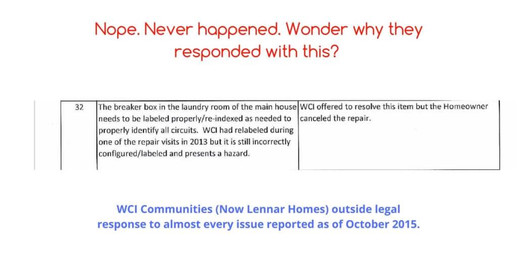 6111 yeats manor drive tampa lennar homes wci communities legal response 2015