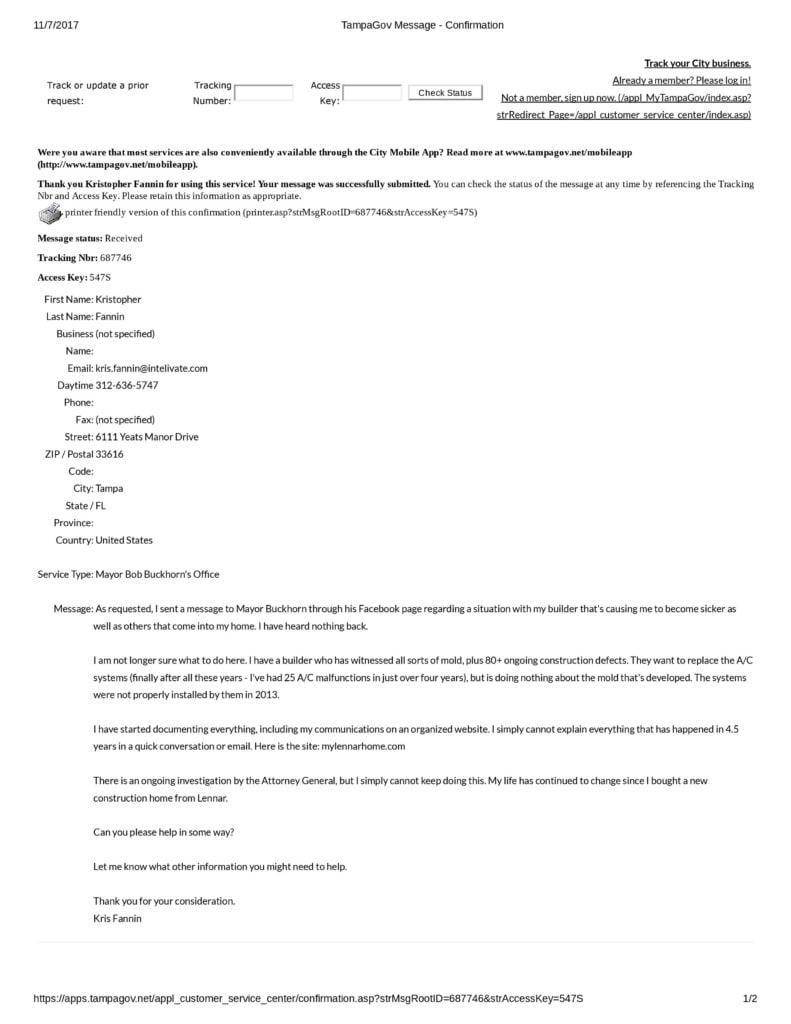 TampaGov Message - Confirmation to Mayor Bob Buckhorn Tampa Lennar Construction Issues-1