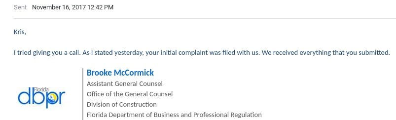brooke adams mccormick department of business and professional regulation email indicating information sent 11162017