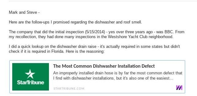 dishwasher air gap drainage requirement mark metheny steve smith lennar construction problems