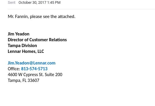 jim yeadon ac problems lennar construction 10302017 email please see attached