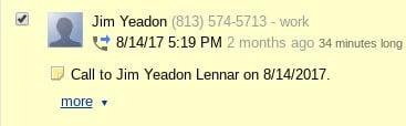 jim yeadon lennar phone call 08142017
