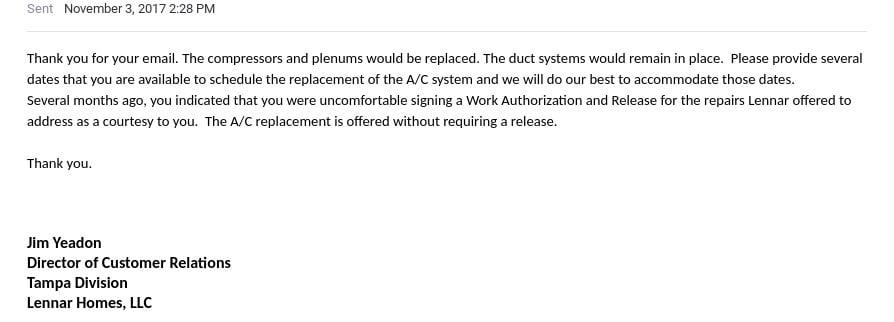 6111 Yeats Manor Drive Tampa Florida jim yeadon mold issues faulty ac system lennar response november 32017