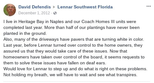 lennar paver issues facebook post construction problems