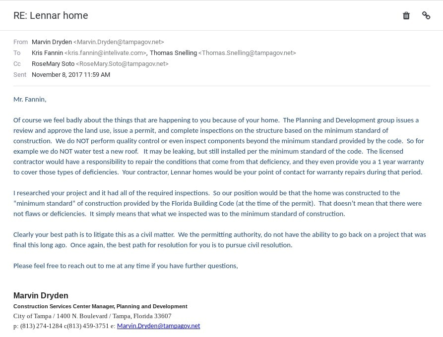 6111 yeats manor Tampa Florida Westshore Yacht Club response from mayor buckhorn office tampa lennar complaints