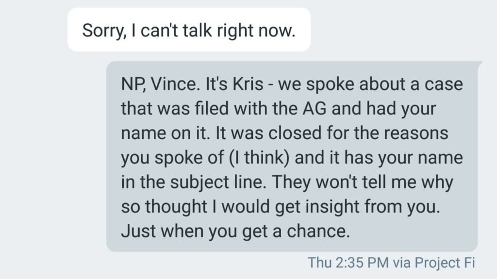 vincent veccharella call and voicemail re attorney general florida lennar construction issues brooke adams attorney