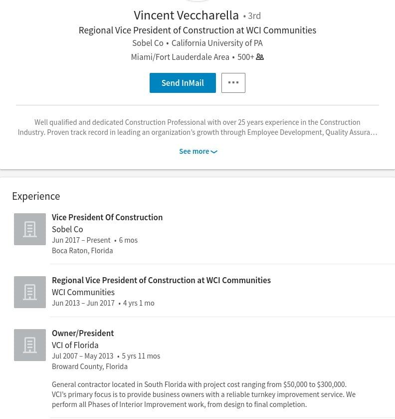 6111 yeats manor dr tampa fl vincent veccharella linkedin profile lennar construction problems