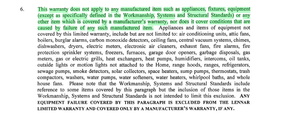lennar warranty excludes all appliances and fixtures construction problems