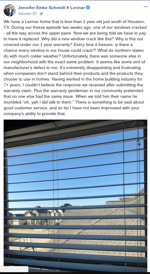 lennar homeowner houston texas cracked window review
