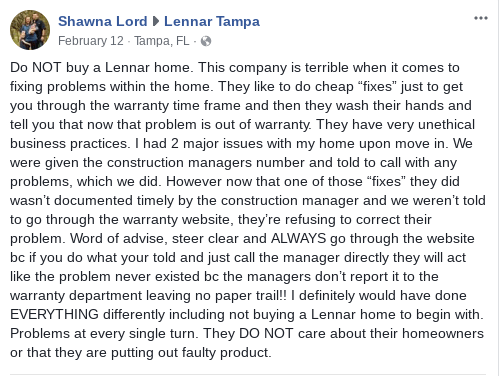 lennar tampa review Facebook construction problems